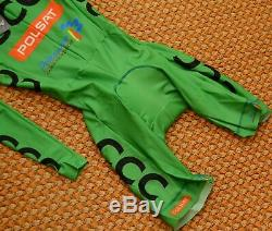 CCC Polsat, long sleeve dmtex green Cycling skinsuit, Mens Small