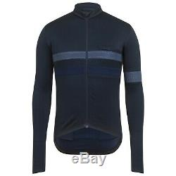 NEW Rapha Men's Cycling Jersey Brevet Dark Navy Blue Long Sleeve M RCC Hi Vis