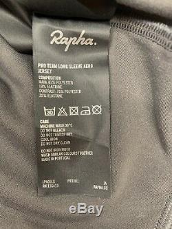 Rapha Men's Pro Team Long Sleeve Aero Jersey Carbon Grey Large New With Tag