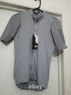 Rapha pro team short sleeve cycling jersey aero gray large new with tags